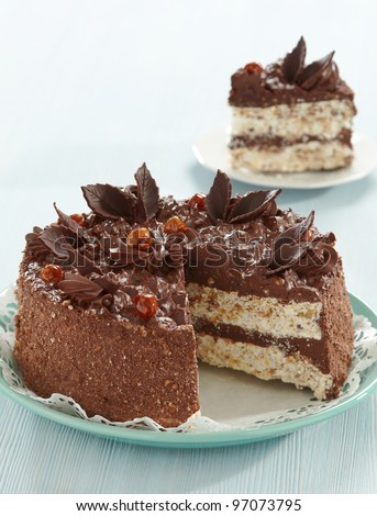 chocolate and hazelnuts cake - stock photo