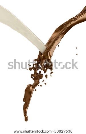 Chocolate and milk splash and mix together on white background.