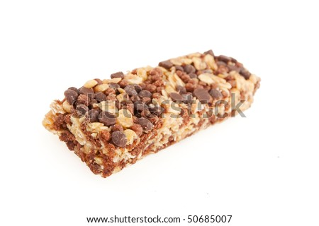Chocolate and nut energy bar isolated on white