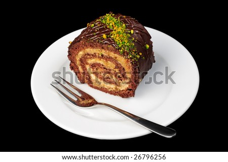 chocolate and nut roll - stock photo