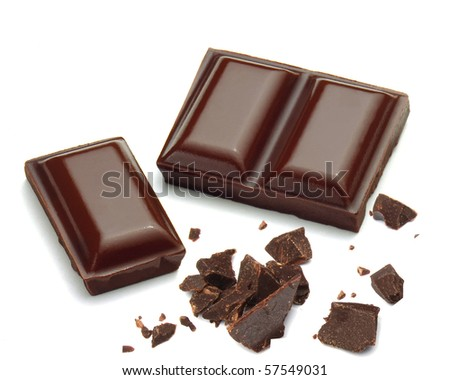 Chocolate and pieces isolated on white background