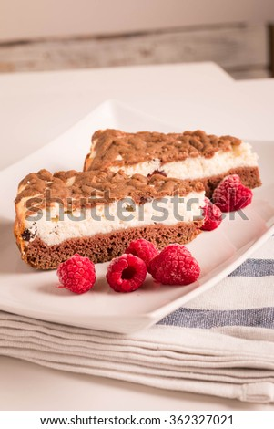 Chocolate and Raspberry Cheesecake. Selective focus.  - stock photo