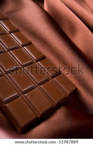 chocolate and silk - stock photo