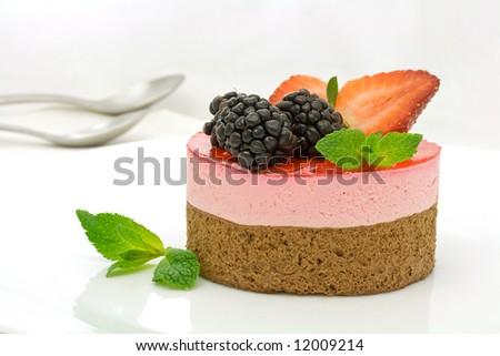 Chocolate and strawberry cake - stock photo