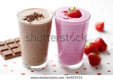 chocolate and strawberry milkshakes - stock photo
