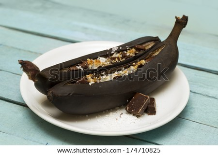 Chocolate Baked Banana Boats - stock photo