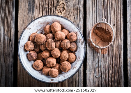 Chocolate balls in a white bowl - stock photo