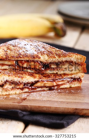 chocolate banana french toast with whole wheat bread