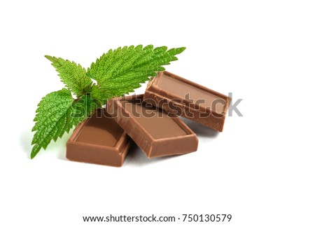 Chocolate bar and mint isolated on white background