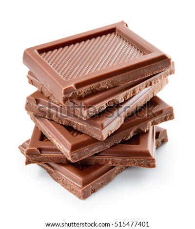 Chocolate bar. Broken pieces isolated on white background