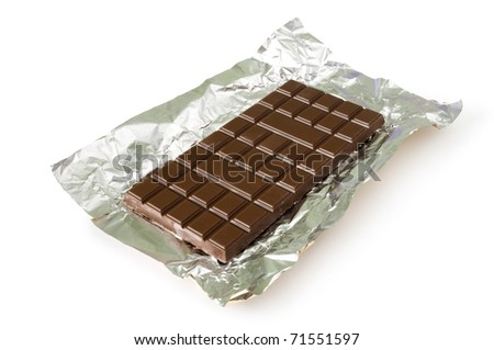 chocolate bar in foil isolated on white - stock photo