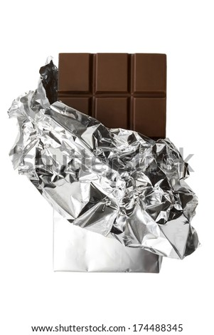 Chocolate bar in foil wrapper on white background - stock photo