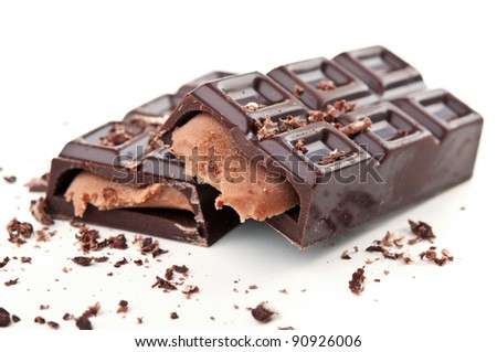 chocolate bar isolated on a white background - stock photo