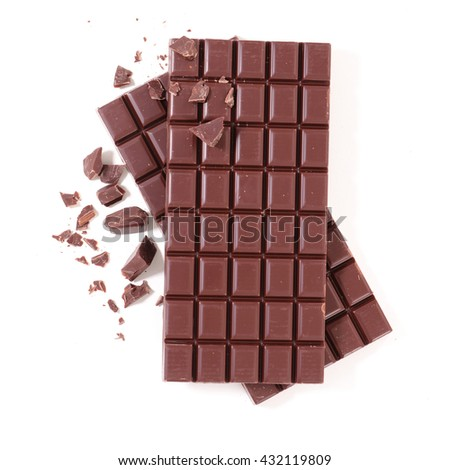 chocolate bar isolated on white - stock photo