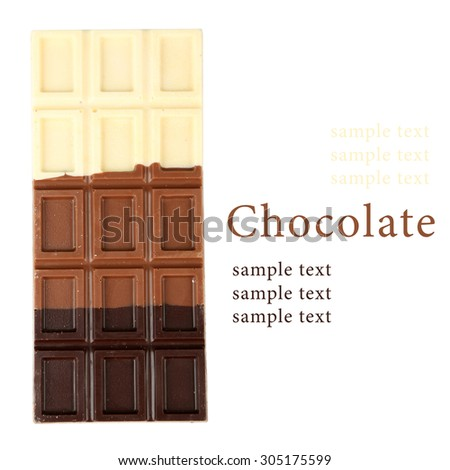 Chocolate bar isolated on white and space for text - stock photo