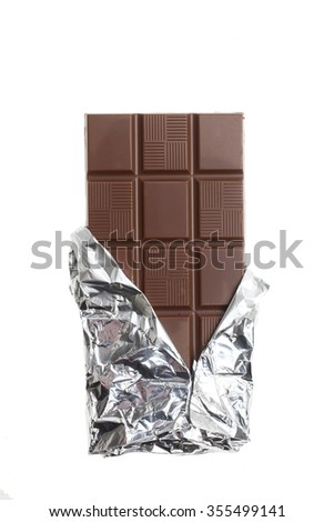 Chocolate bar isolated on white background top view - stock photo
