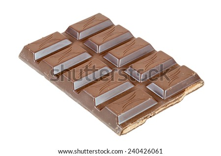 Chocolate bar isolated on white background with clipping path