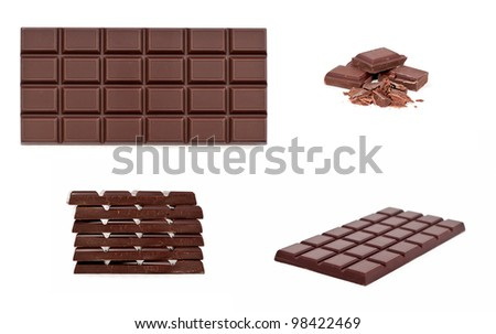 chocolate bar isolated on white, colage - stock photo