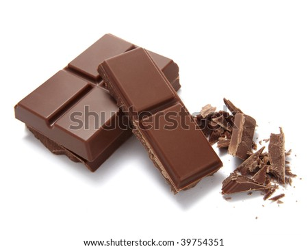 chocolate bar on white background - stock photo