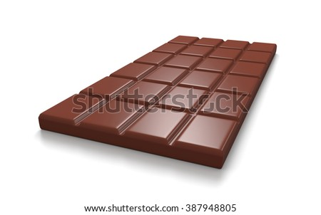 Chocolate Bar on White Background 3D Illustration