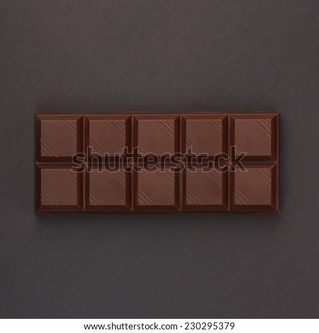 Chocolate bar - overhead view - stock photo