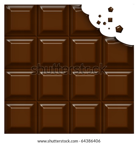 Chocolate bar with a bite missing - stock photo