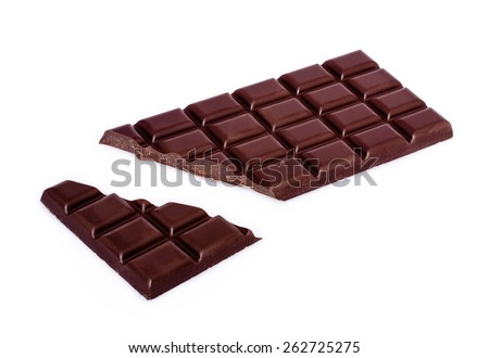 chocolate bar with broken bit with shadow on white background