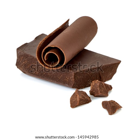 Chocolate bar with pieces and curl on white background - stock photo