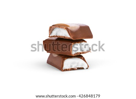 chocolate bar with white cream on a white background - stock photo