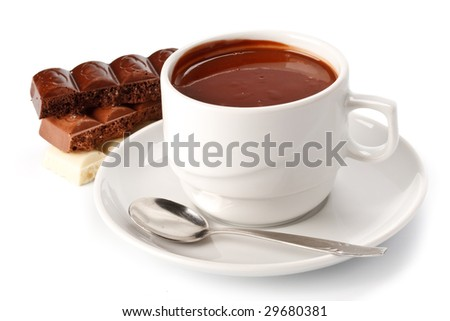 Chocolate bars and cup of hot chocolate on a white background - stock photo