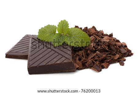 Chocolate bars and mint leaf isolated on white background - stock photo