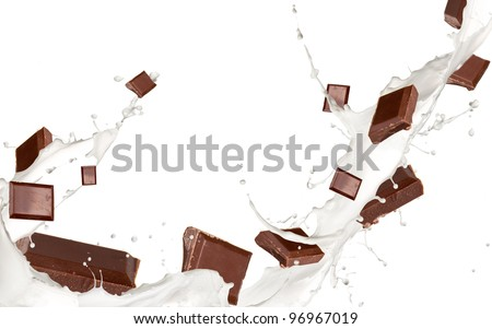 Chocolate bars in milk splash, isolated on white background - stock photo