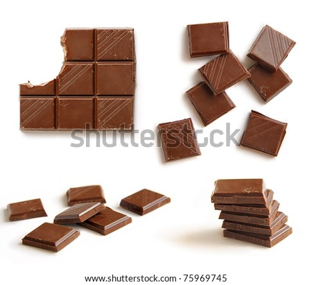 chocolate bars on white background - stock photo