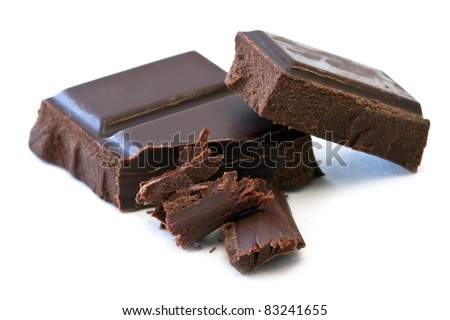 chocolate bars over white background - stock photo