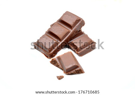 Chocolate bars stack over white background