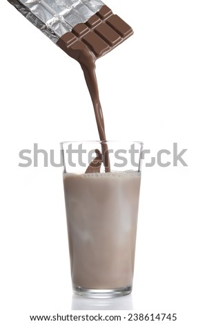 Chocolate being poured into glass with milk