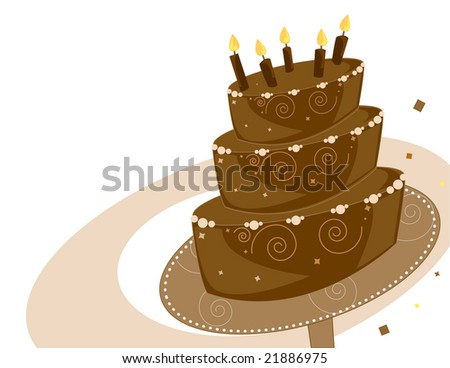 Chocolate Birthday cake background - jpg version - stock photo