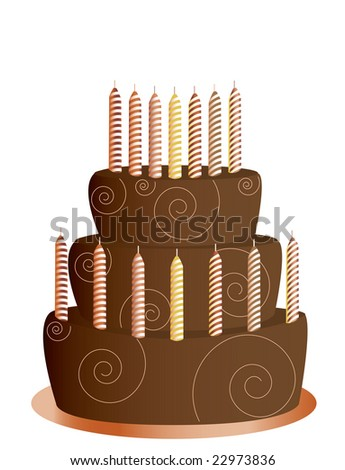 Chocolate birthday cake - jpg version - stock photo