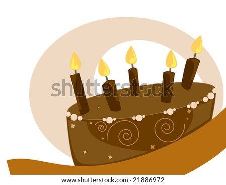 Chocolate birthday cake on a white background- jpg version - stock photo