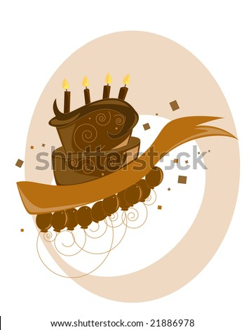 Chocolate birthday cake on a white background with balloons- jpg version - stock photo