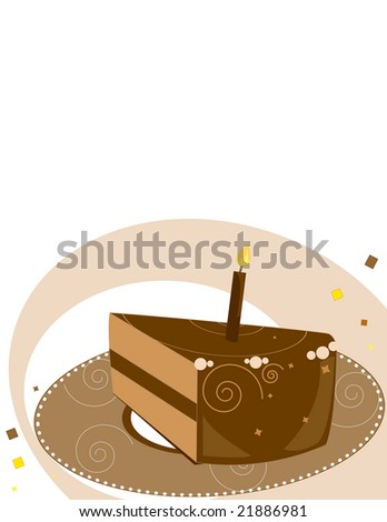 Chocolate birthday cake  slice on a white background- jpg version - stock photo