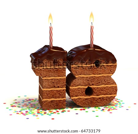 Chocolate birthday cake surrounded by confetti with lit candle for a eighteenth birthday - stock photo