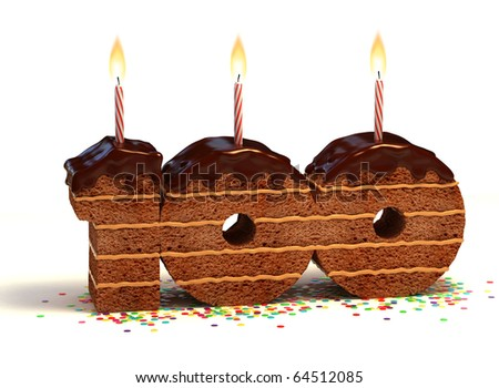 Chocolate birthday cake surrounded by confetti with lit candle for a hundredth birthday or anniversary celebration - stock photo