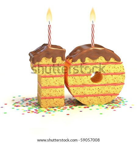 Chocolate birthday cake surrounded by confetti with lit candle for a tenth birthday or anniversary celebration - stock photo