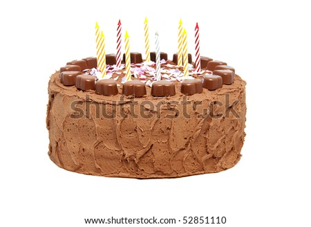 chocolate birthday cake with candles isolated on white background - stock photo