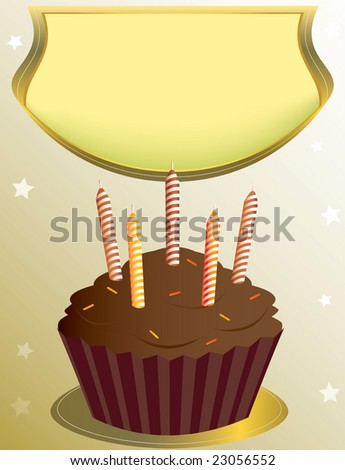chocolate birthday cupcake - jpg version - stock photo
