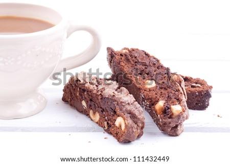 chocolate biscotti with coffee - stock photo