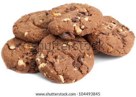 chocolate biscuit, isolated on white background - stock photo