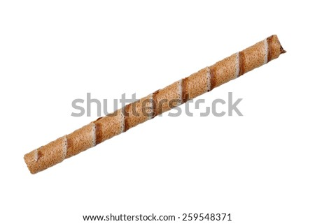 chocolate biscuit stick straw isolated on white background - stock photo