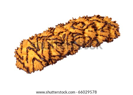 Chocolate biscuits isolated on white background